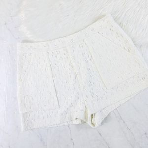 Rachel Roy White Floral Lace Shorts